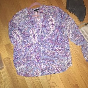 Paisley Rollup Sleeve Blouse